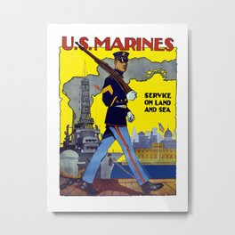 U.S. Marines -- Service On Land And Sea Metal Print