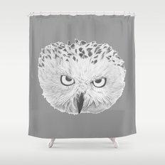 Snowy Owl Grey Shower Curtain