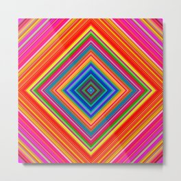 Rainbow Abstract Psychedelic Neon Dawn Triangle Design - Pink and  Orange Metal Print