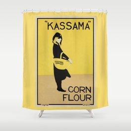 Vintage minimalist corn flour ad Beggarstaffs Shower Curtain
