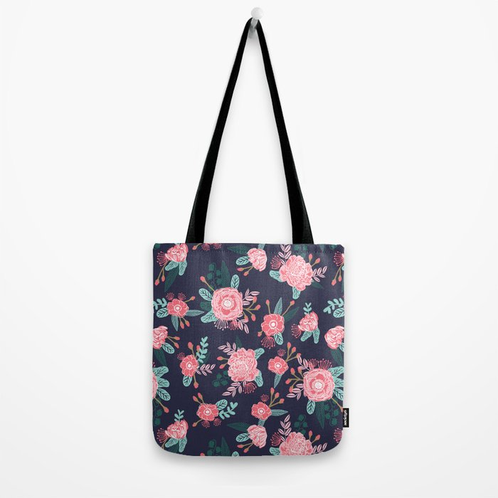 Peony floral bouquet navy pink bright happy flowers dorm college office decor must have pattern Tote Bag