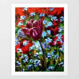 Purple Tulip in Field Art Print