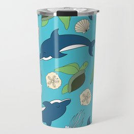 Ocean Life Mix Dolphins and turtles Travel Mug