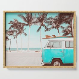 Retro Camper Van With Surf Board Serving Tray