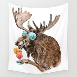 Moose on Vacation Wall Tapestry