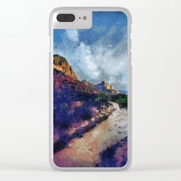 Milky Way rising over the Watchman in Zion National Park Clear iPhone Case