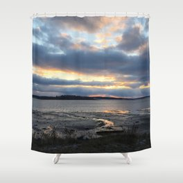 Perfect Sunset over Half Moon Cove Shower Curtain