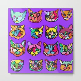 Too Much Catnip (Abstract Neon Psychedelic Cats Contour Art on Purple) Metal Print