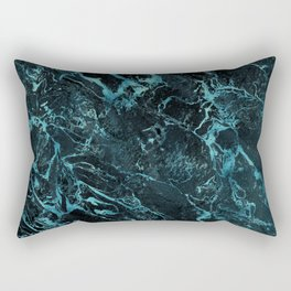 Black & Teal Color Marble Rectangular Pillow