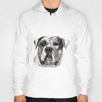 bulldog Hoodies featuring Bulldog by Danguole Serstinskaja