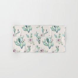 Pretty Cactus Rose Pattern Pale Pink + Green Hand & Bath Towel
