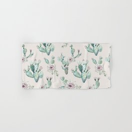 Pretty Cactus Rose Pattern Pale Pink + Green Hand & Bath Towel
