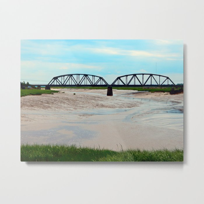 Low Tide at the Sackville Train Bridge Metal Print
