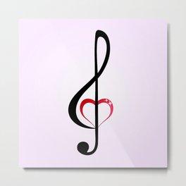 Heart music clef Metal Print