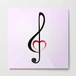 Heart music clef Metal Print