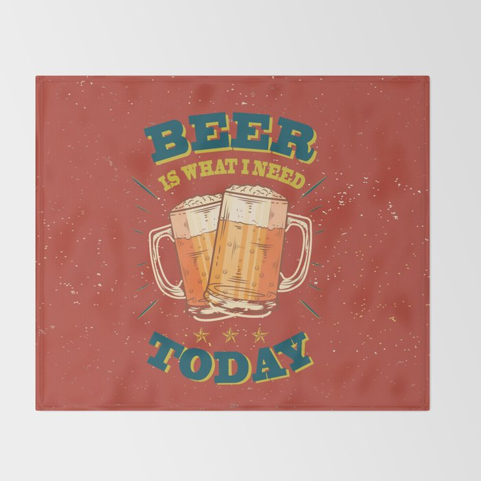 Beer is what i need today, vintage poster, red Throw Blanket