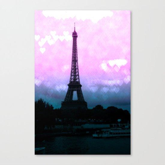 Paris Eiffel Tower : Lavender Teal Canvas Print