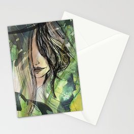 Girl in jungle Stationery Cards
