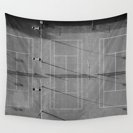 Grey tennis court at sunrise   black and white drone aerial photography art   sports field print Wall Tapestry