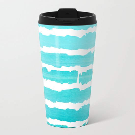 Maritime pattern- aqua handpainted stripes on clear white- horizontal Metal Travel Mug