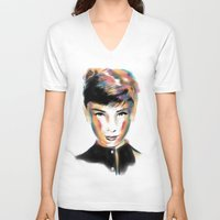 audrey hepburn V-neck T-shirts featuring Audrey Hepburn by caffeboy