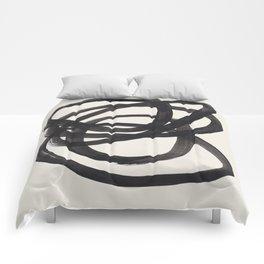 Mid Century Modern Minimalist Abstract Art Brush Strokes Black & White Ink Art Spiral Circles Comforters