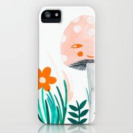 pink mushroom with botanical illustration iPhone Case