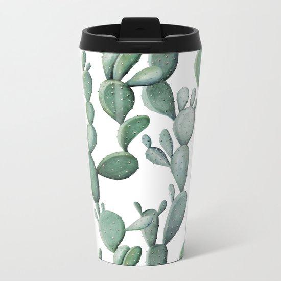 Cactus Bunch Green Metal Travel Mug