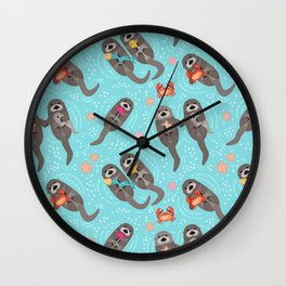 Otters Playing - Aquamarine Background Wall Clock