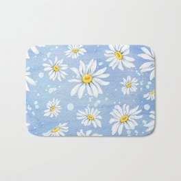Spring Daisies On Sky Blue Watercolour Bath Mat