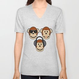 Illustration of Cartoon Three Monkeys - See, Hear, Speak No Evil Unisex V-Neck