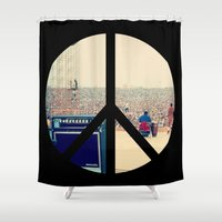 woodstock Shower Curtains featuring Woodstock 69 by Silvio Ledbetter