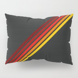 Minimal Red Thin Retro Stripes Art On Black - Ahuizotl Pillow Sham