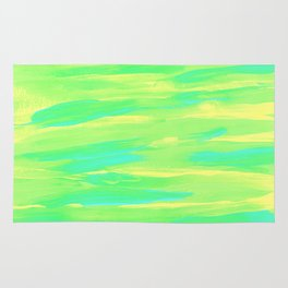 Spring Green Blue Yellow Stripes Abstract Painting Rug