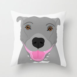 Staffy Dog Portrait Throw Pillow