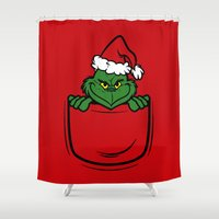 pocket Shower Curtains featuring Pocket Grinch by Buby87