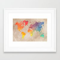 world maps Framed Art Prints featuring World Map Maps by jbjart