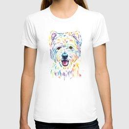 Westie Colorful Pet Portrait Watercolor Painting T-shirt