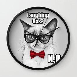 Grumpy Chemistry Cat Geek Science Meme Whimsical Animals in Glasses Wall Clock