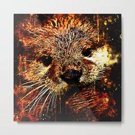 furry fish otter splatter watercolor Metal Print