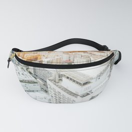 modern city skyline aerial view under sunrise and blue sky in Osaka, Japan Fanny Pack
