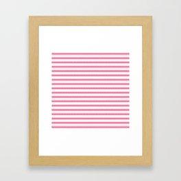 Bright Pink Peacock Mattress Ticking Wide Striped Pattern - Fall Fashion 2018 Framed Art Print