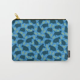 Blue Cats-n-Paisleys Carry-All Pouch