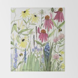 Flowers on White Painting  Throw Blanket