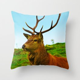 The Stag on the hill Throw Pillow