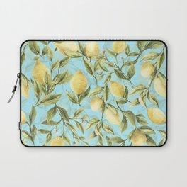 mediterranean summer lemon branches on turquoise Laptop Sleeve