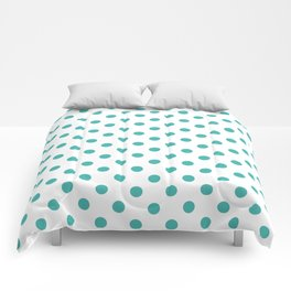 Small Polka Dots - Verdigris on White Comforters