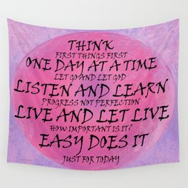 Recovery Slogans Pink Purple Wall Tapestry