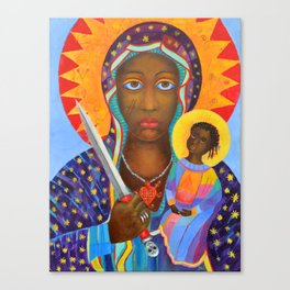 Erzulie Dantor Black Madonna Voodoo Art Goddess Virgin Mary with Child Christmas Gift Canvas Print