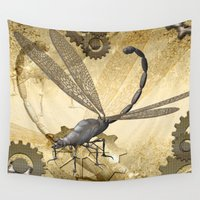 steampunk Wall Tapestries featuring Steampunk, dragonflies by nicky2342